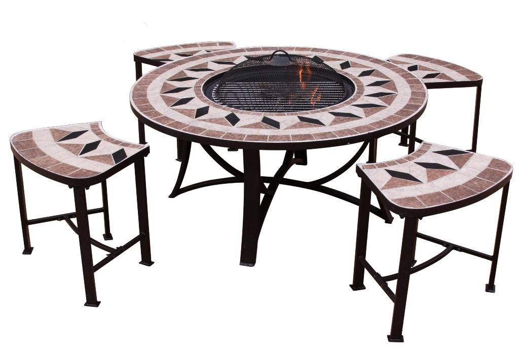 Tavolo rotondo aefelina 100cm con braciere e 4 sedie for Tavolo rotondo e sedie
