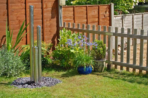 Fontane da giardino acciaio inox opaco 3 tubi luci zen for Giardino primrose