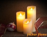 Set 3 Candele in Cera Flicker Flame� con Fiamma LED Danzante