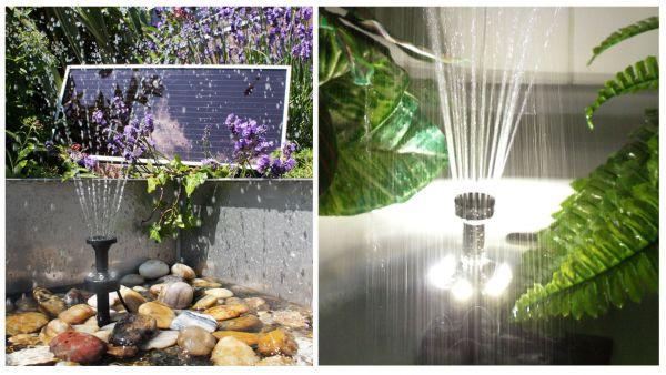 Kit pompa per fontana solare 300 l h con lampada led for Fontana per laghetto