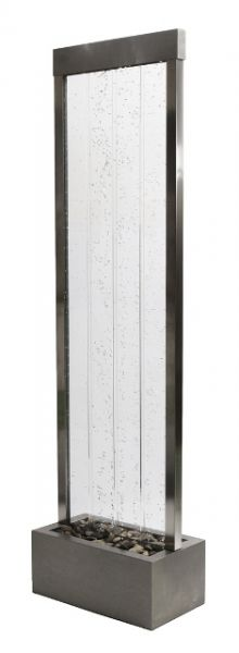 Fontana parete dacqua con bollicine, telaio acciaio inox, luci LED e ...