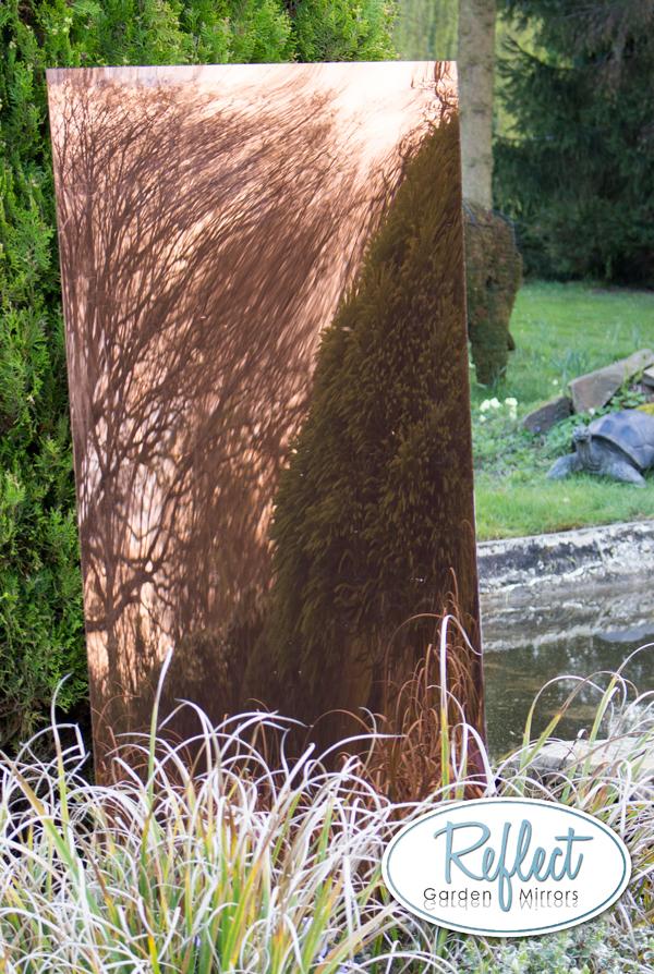 Specchio da giardino acrilico bronzo grande 180cm x 75cm for Specchio esagonale