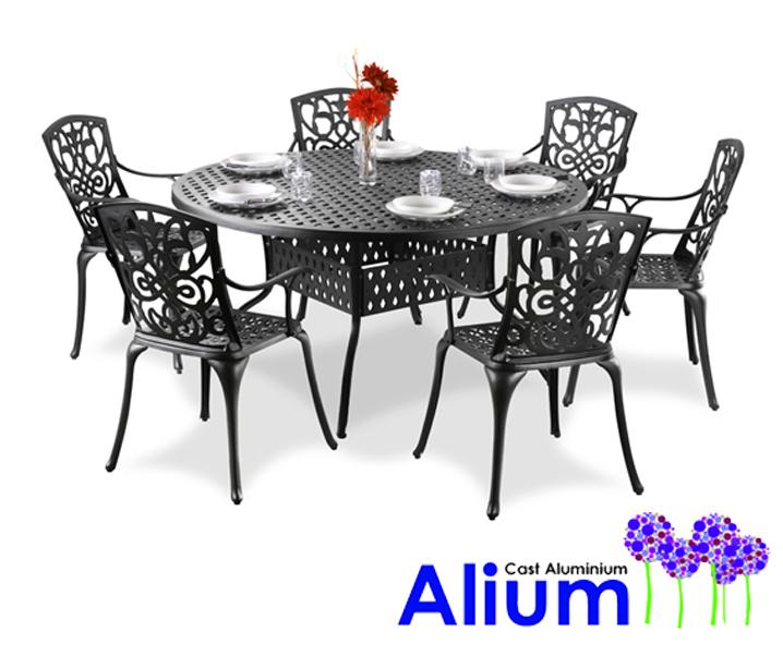 Set Da Giardino Con Tavolo Rotondo Alium Gastone Da 6