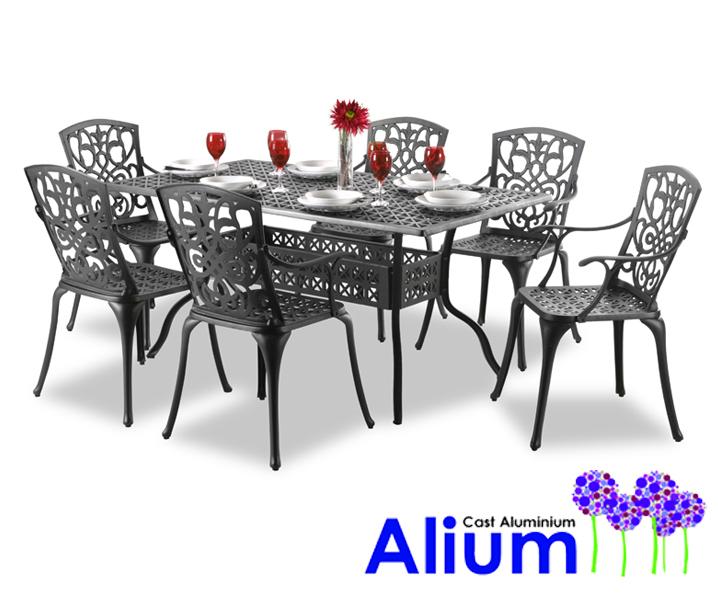 Set Da Giardino Con Tavolo Rettangolare Alium Ugo Da 6