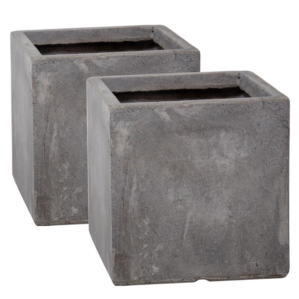 Fioriere Da Esterno In Cemento set di 2 fioriere da 23cm in fibracotta rifinite in cemento forma cubica