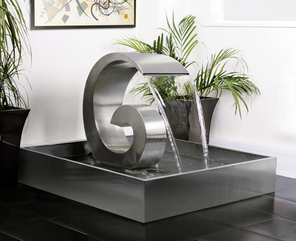 Fontana in acciaio inox a cascata curly swirly 66cm con for Fontane a cascata da giardino