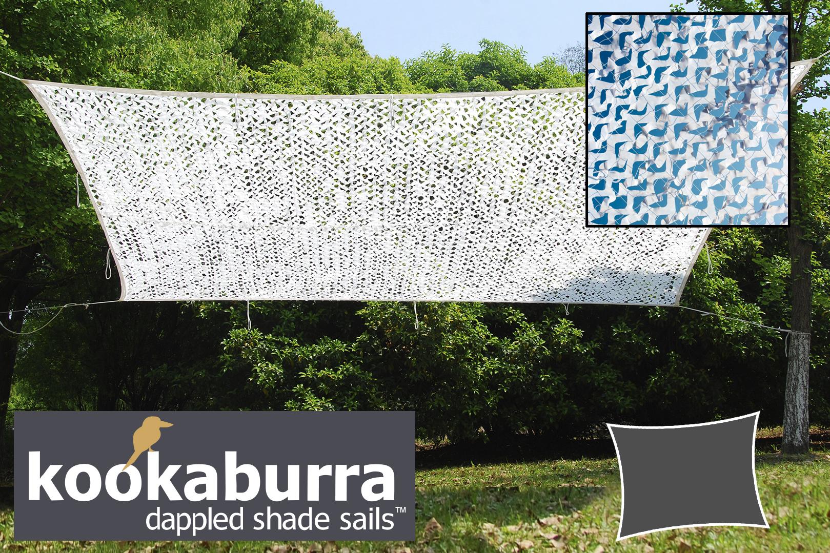 Tenda a vela kookaburra 5m x 4m rettangolare bianco for Tenda a vela rettangolare