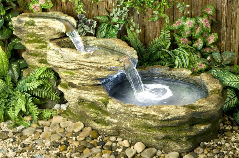 Fontana pietra da fiume con luci l143cm 429 99 - Fuentes solares para jardin ...