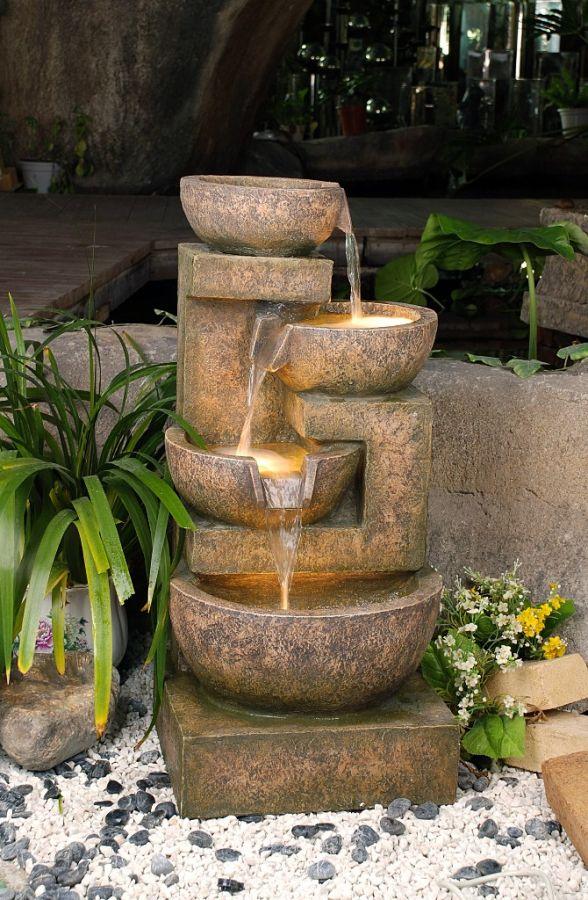 Fontana quattro vasi effetto rame e granito con luci 329 99 for Giardino primrose
