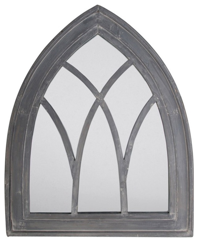 Specchio anticato a finestra gotica grigio 84 99 - Specchio anticato ...