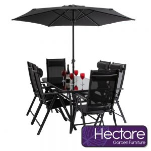 Kennet Reclining 6 Seater Polytex Dining Set In Black By Hectare®