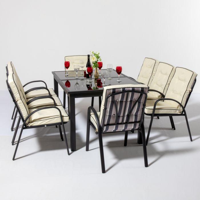 Set Da Giardino Da 8 Posti Con Tavolo Rettangolare Allungabile Di Colore Nero Hadleigh Della Hectare 999 99