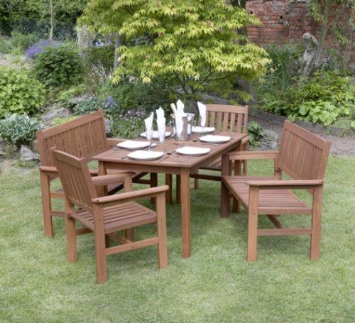 Set di mobili da giardino tropicana 6 posti tavolo sedie e panche in legno massiccio 439 99 - Tavolo e panche da giardino ...
