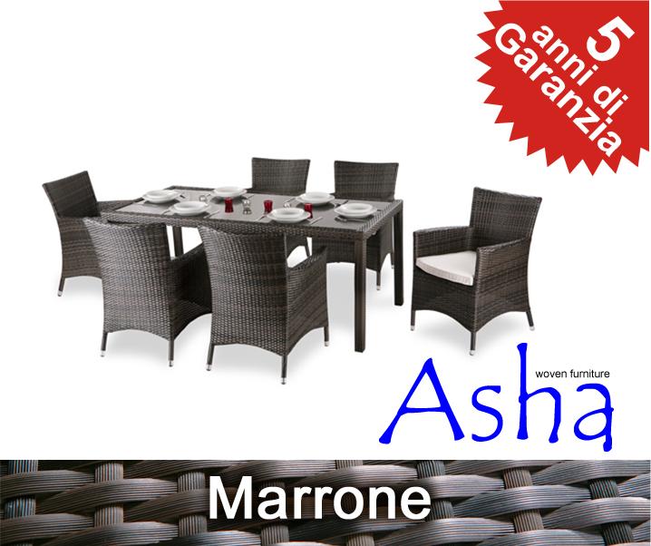 Set tavolo e sedie da giardino asha vendicari in rattan for Tavolo sedie rattan