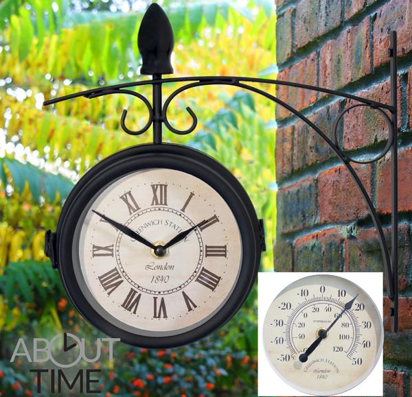 Orologio da Giardino Zincato con termometro 35cm Esterno Appendere Parete