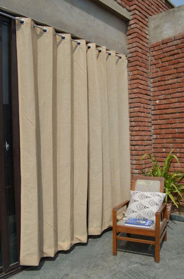 Tende Color Corda.Set Di Due Tende Per Esterni Color Sabbia Con Anelli In Acciaio Inox Traspirante 185gsm H 2 28m X W 1 37m