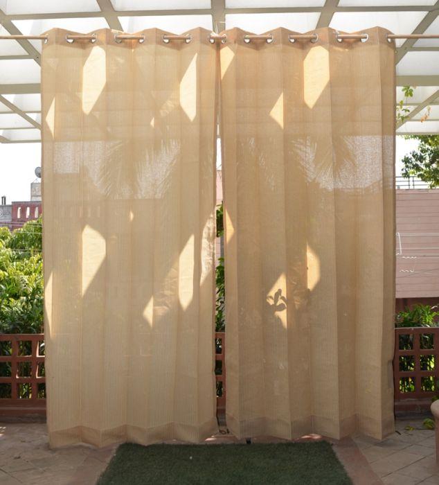 Tende Con Anelli Per Esterni.Set Di Due Tende Per Esterni Color Sabbia Con Anelli In Acciaio Inox