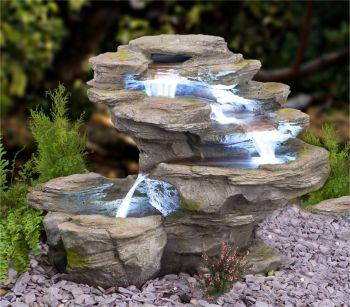 Fontana a cascata ogen su quattro livelli con luci a - Cascate da giardino ...