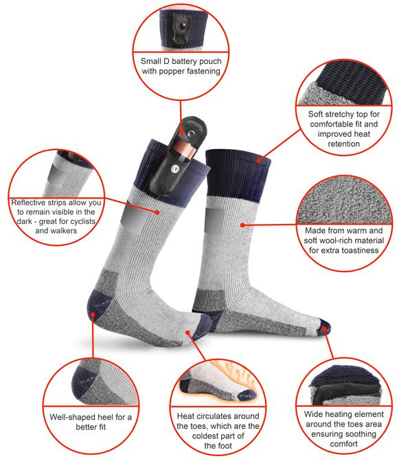 prodotto caldo varietà di disegni e colori scarpe casual Calze riscaldate a batteria Warmawear™ con strip riflettente