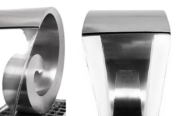 Fontana in acciaio inox a cascata curly swirly 66cm con for Raccordo in acciaio verticale