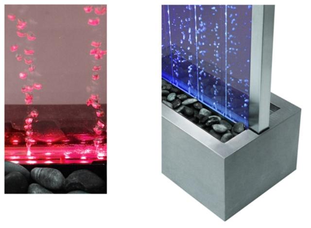 Pareti D Acqua Per Interni : Fontana parete dacqua con bollicine telaio acciaio inox luci led